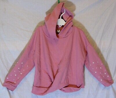 Girls TU Pink White Beaded Twist Front Hooded Sweater Jumper Hoodie Age 7 Years