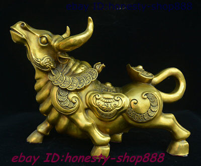 "18"" Chinese Pure Bronze Feng shui 12 Zodiac Year Ox Bull Oxen Copper Coin Statue"