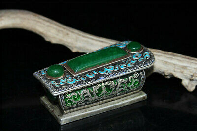 "2.95""Chinese copper silver plating Cloisonne Ice jadite jade Coffin casket box"