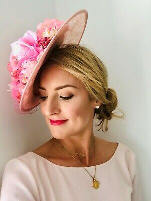 Handmade Statement Large Dipped Saucer Floral Hat Fascinator Blush Pink Rose
