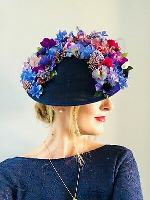 Handmade Statement Large Side Floral Hat Fascinator Navy Blue Purple Pink Green