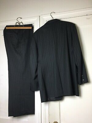 Hickey Freeman Mens 2Pc Wool Suit Classic Fit Jacket & Pants Gray Pinstripe 40R
