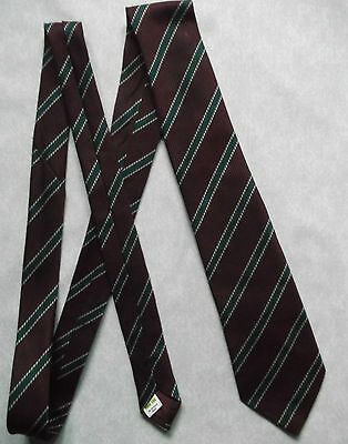 Tie MENS Necktie Vintage Retro STRIPED BURGUNDY GREEN ST MICHAEL