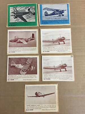 1940/50 Zoom Army Fighter Planes Trading Card Lot of 7 Poor Condition - Vintage