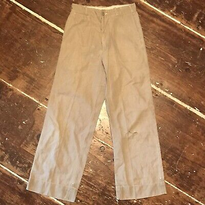 Vintage Chino Work Pants 30s 40s Khaki Button Fly Childrens Boys Girls 23x23