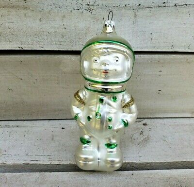 Astronaut Boy Christmas Ornament Blown Glass Made in Germany Silver Green Gold