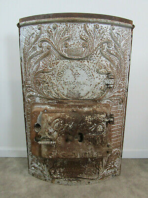 Huge ornate cast iron octopus stove boiler heater door front antique vintage