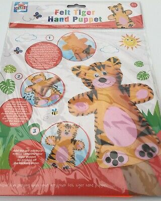 Felt Hand Puppet Sew your Own 3 to choose from TIGER FROG ELEPHANT self adhesiv
