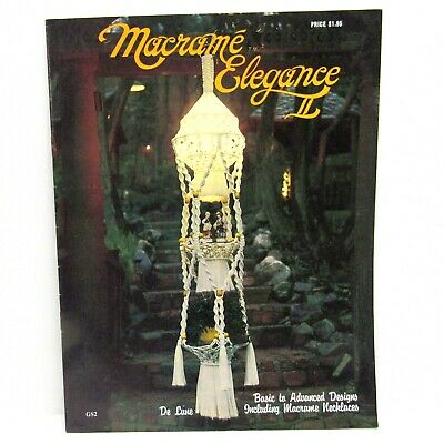 Vintage MACRAME ELEGANCE Pattern Book 1976 Planters Owls Wall Hanging Necklaces