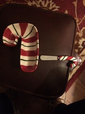 NWOB Avon Candy Cane Dipping  Dish And Spreader Gorgeous