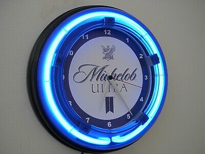 Michelob Ultra Beer Bar Man Cave Advertising Blue Neon Wall Clock Sign