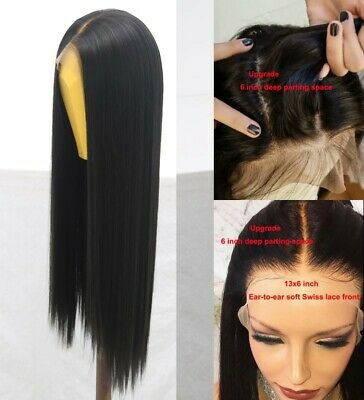 """AU 24""""  Synthetic 13x6 Lace front wigs Full Head Handtied Natural Black Straight"""