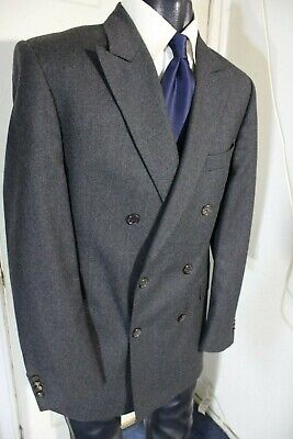 Gieves & Hawkes Size 40R Dark Gray Double Breasted Woo Sportcoat W/Dual Vents