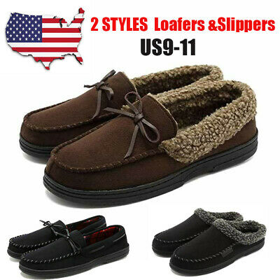 Men's Moccasin Slippers Anti-Slip House Shoes Indoor Outdoor Rubber Sole Loafers