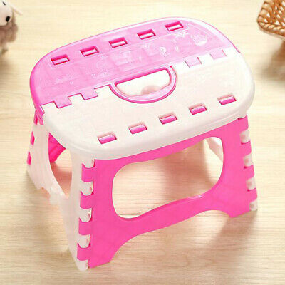 Small Folding Step Stool Footstool Portable Home Camping Multi-purpose Pink