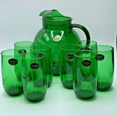 Anchor Hocking Forest Green Roly Poly Ball Pitcher And 8 Tumbler Set~Orig Labels