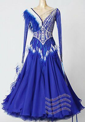 B8214 feather  Ballroom Tango Waltz dance Competition dress UK 10 US 8 blue