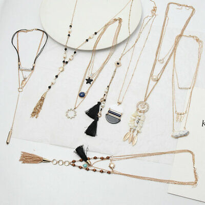 New Gold Plated White Turquoise Bead Tassel  Arrow Pendant Statement necklace