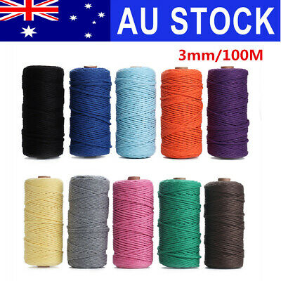 AU 3mm 100M DIY Macrame Colorful Cotton Twisted Cord Rope Hand Crafts String