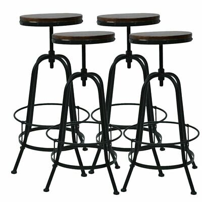 Vintage Bar Stool Metal Wooden Industrial Retro Seat Kitchen Pub Counter Home WT