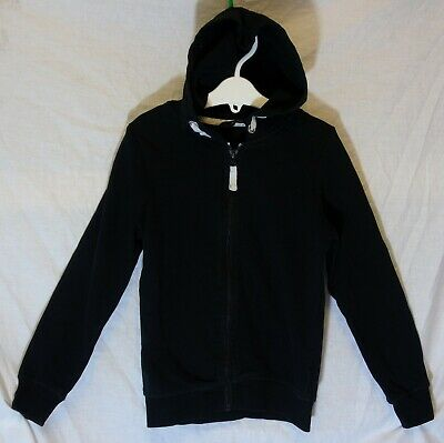 Girls George Plain Black Zipped Sports Hooded Jacket Hoodie Age 6-7 Years