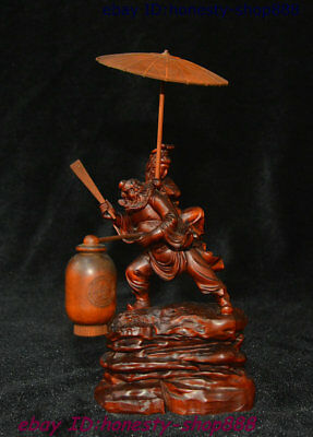Collect Chinese Boxwood Wood Zhong kui Zhong Zhengnan Back Younger sister Statue