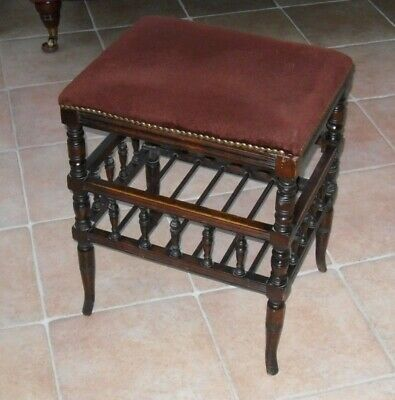 Antique Edwardian Upholstered Wooden Spindle Turned  Music/Piano Stool