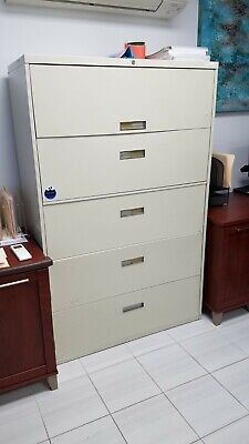 """5 DRAWER LATERAL SIZE FILE CABINET by STEELCASE OFFICE FURN 36""""W"""