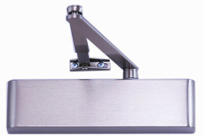 Overhead Door Closer, Size 2-4 Slimline, Satin Stainless Steel