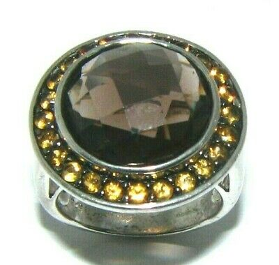 Ladies 925 sterling silver smoky quartz & citrine stone dress ring UK size N 1/2