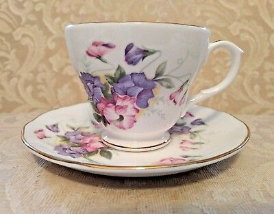 Bone China Teacup & Saucer Duchess Made In England Floral Pattern & Gold Trim