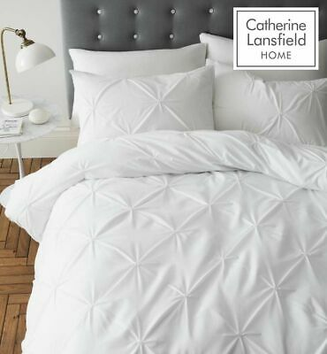 "Catherine Lansfield ""Pinch Pleat"" Pin Tuck Quilt/Duvet Cover Bedding Set White"