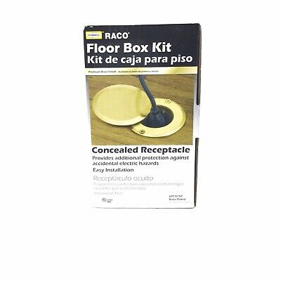 Hubbell-Raco 6RF151SR Drop in Floor Box Kit with Brass Cover Single Tamper