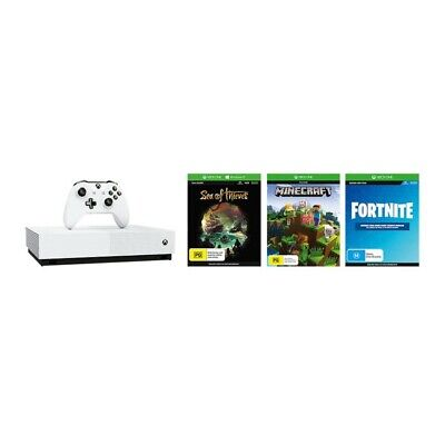Xbox One S All Digital 1TB Console + Sea of Thieves + Minecraft Starter Colle...