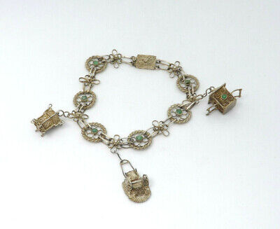 Vintage China Export Silver Ornate Filigree Jadeite Jade Charm Bracelet, 8.6g