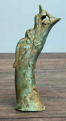 China Ancient Warring States Period Bronze Walking Stick Dragon Head Statue 龙头杖首