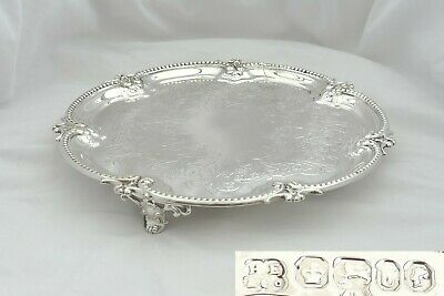 Rare Victorian Hm Sterling Silver 3 Footed Salver 1862