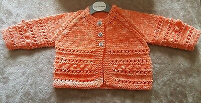 BRAND NEW - Hand Knitted Baby Matinee Coat To Fit Age 0 - 6 Months Approx
