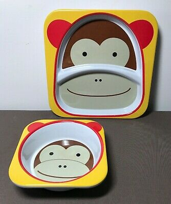 Skip Hop Baby Plate and Bowl Set, Melamine, Monkey Dishwasher Safe EUC