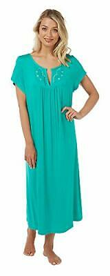 Ladies Plus Size Embroidered Jersey Nightdress Pink or Blue  22-24 26-28 30-32
