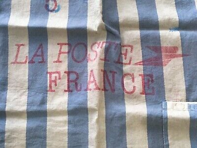 Antique Vintage French La Poste Canvas Postal Bag Gray Blue Stripe