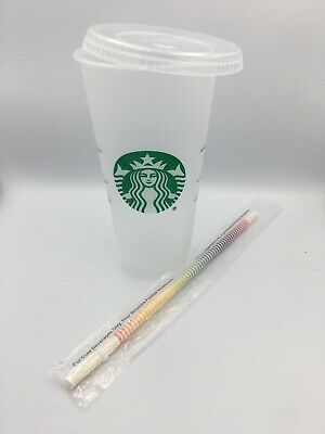 Starbucks Cold reusable Frosted Venti 34 Oz cup With Lid And Rare Rainbow straw