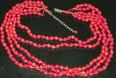 Vtg Chinese Natural 5 Strands Red Coral Knotted Necklace With Silver 925 Clasp