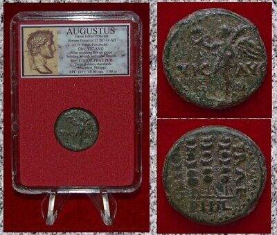 Ancient Roman Empire Coin AUGUSTUS Victory and Standards Bronze Semis
