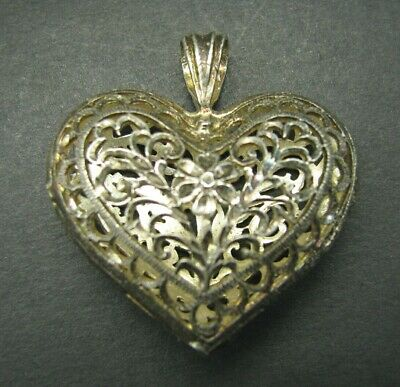 Vintage 900 STERLING SILVER Filigree Puffy Heart Pendant DIAMOND CUT ETCHED LACE