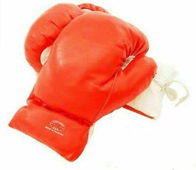 Kids 10 Oz Red Faux Leather Boxing Gloves SPARRING YOUTH PRACTICE TRAINING MMA