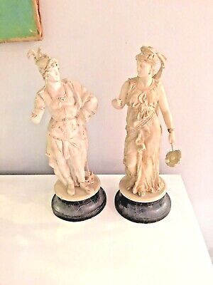 Vtg Greek Roman Goddess And Man Pair Of Head And Bust Sculpture Antique Gold
