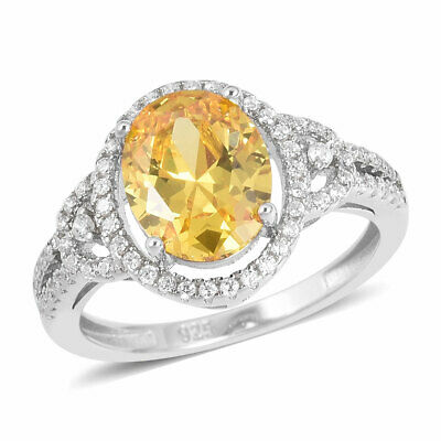 Yellow & White Halo Diamond Ring in Sterling Silver (Sz 10.0) 3.98 ctw #E48