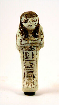 Egypt New Kingdom 19/20th dynasty very rare white faience shabti for Amun-Mes