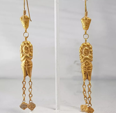 Ancient ROMAN-BYZANTINE 22k Gold Earings King/Queen figures